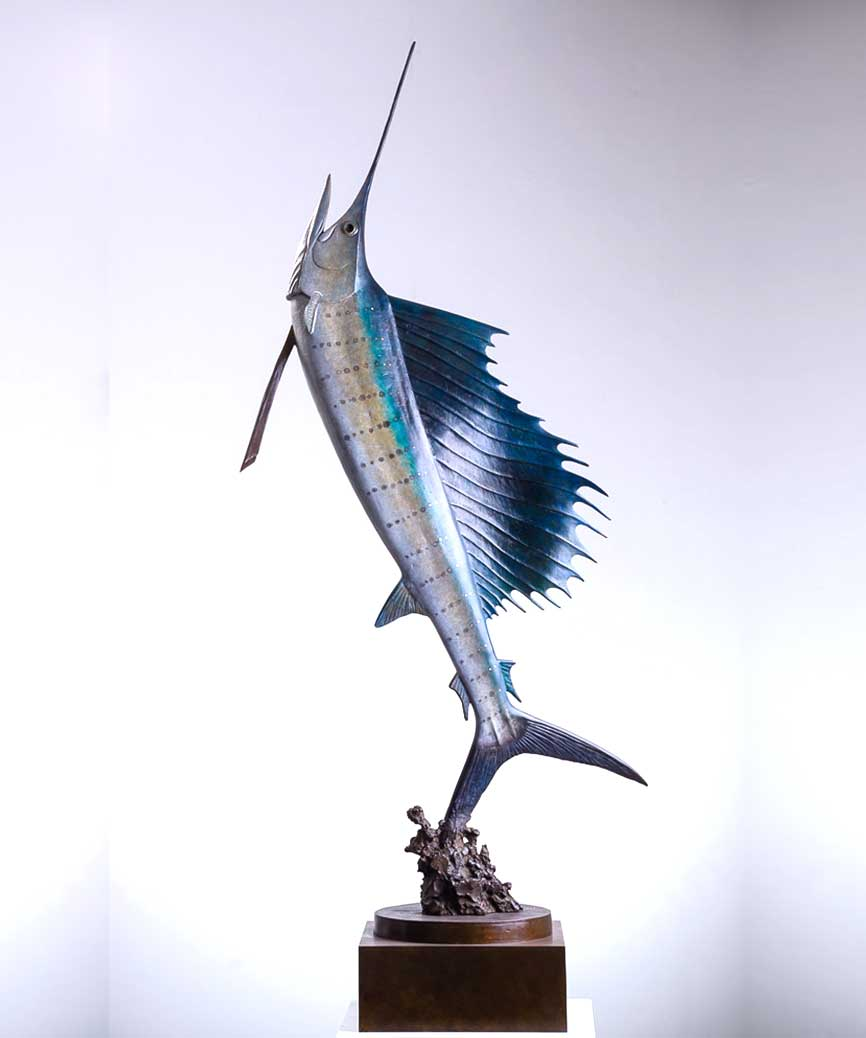 bronze sailfish sculpture