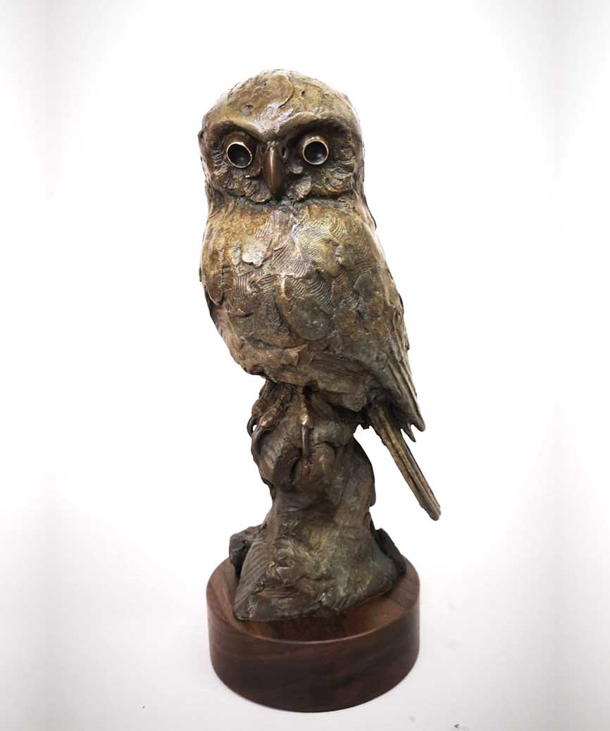 Bronze Pearl Spotted Owl Sculpture