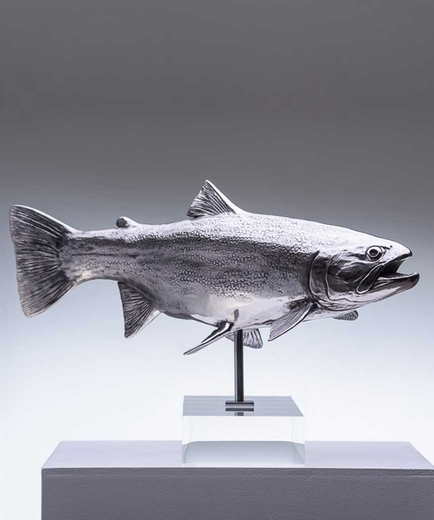 Chris Bladen Sculpture Trout Study Stainless Steel